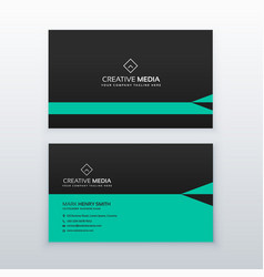 Green and black business card design in simple vector