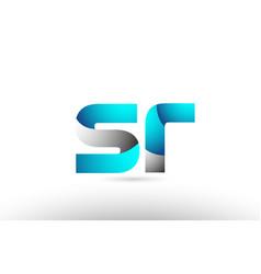 Grey blue alphabet letter sr s r logo 3d design vector
