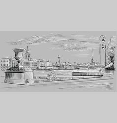 Grey hand drawing st petersburg 10 vector