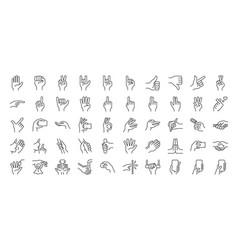 Hand gestures line icon set vector