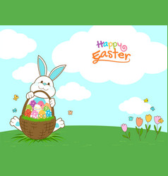 happy easter banner with rabbit and easter eggs vector image