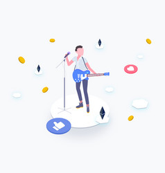 Idol with blockchain platform isometric vector