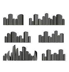 Isolated black and white color skyscrapers in vector
