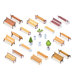 Isometric wooden bench or park chair garden vase vector