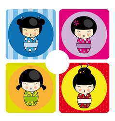 Kokeshi dolls in various designs vector image