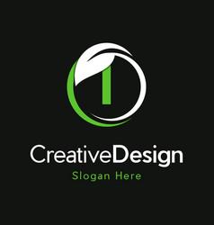 Letter i circle leaf creative business logo vector