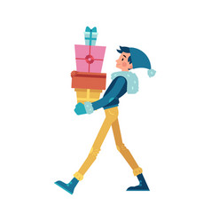 man with stack of present vector image