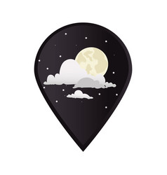 mark icon pointer gps with moon night with clouds vector image