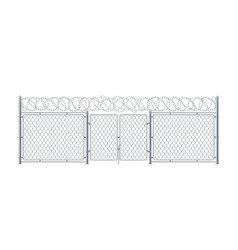 Metal fence with gate chain link wall with wicket vector