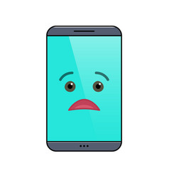 Miffed mobile phone isolated emoticon vector