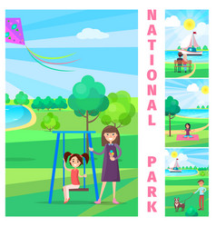 Mother near daughter on swing in national park vector