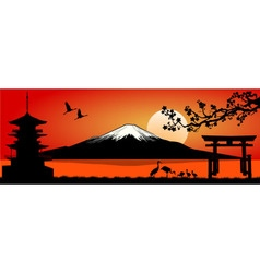 Mount fuji at sunset vector