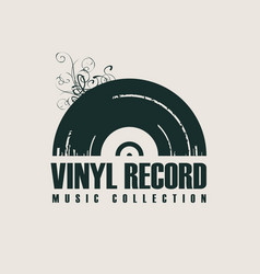 Music icon with vinyl record in retro style vector