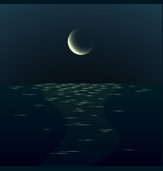Night moonrise seascape gradient landscape with vector