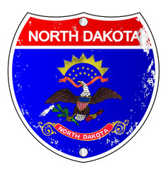 North dakota flag icons as interstate sign vector