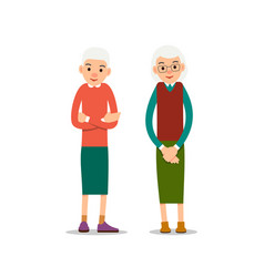 Old woman two senior one elder women stand with vector