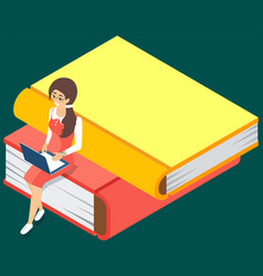 online library concept books in laptop young vector image