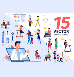 people characters various life scenes set vector image