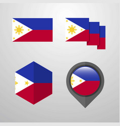 phillipines flag design set vector image