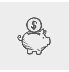 Piggy bank and dollar coin sketch icon vector