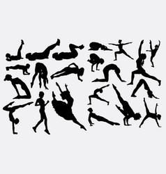 Pilates and dancer silhouette vector