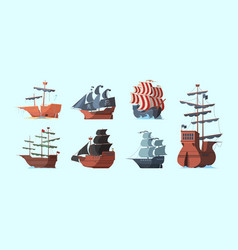 pirate boat old marine vessels pirate damaged vector image