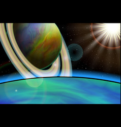 planet landscape space background vector image