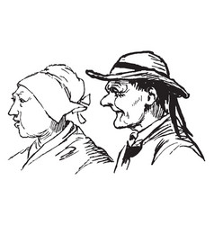 Profile of man and woman vintage engraving vector