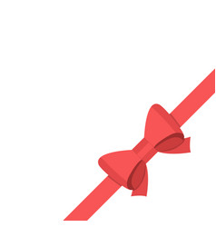 red satin bow isolated on white background vector image