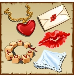 Romantic set to celebrate Valentines day vector image