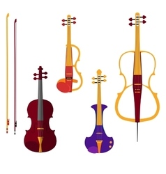 set different violins and cello with bows on vector image
