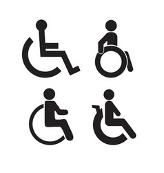 Set disability people pictograms flat icons vector