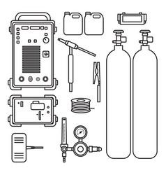 set gas welding argon machine with regulator vector image