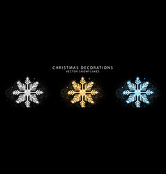 Set glitter snowflake golden silver and blue vector