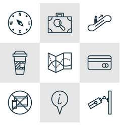 Set of 9 traveling icons includes moving vector