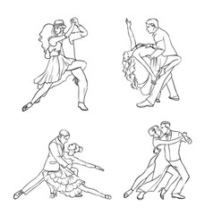 set of a couple dancing tango hand drawn contour vector image