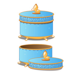 set of closed and opened round ornate gift boxes vector image