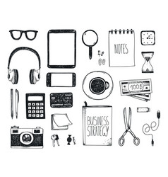 Set of hand drawn office tools freelance vector