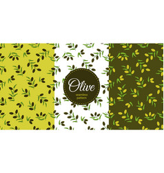 set olive seamless pattern branches with black vector image