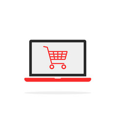 shopping cart in red laptop vector image