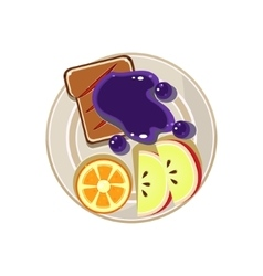 Sliced Fruit and Toast with Jam Breakfast Served vector