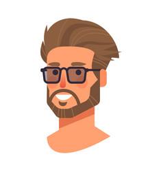 smiling man in glasses head avatar beautiful human vector image