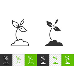 Sprout simple black line icon vector