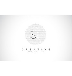 St s t logo design with black and white creative vector
