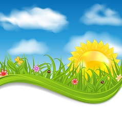 Summer card sky cloud sun grass flower butterfly vector