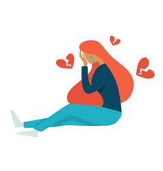 Teenager problem broken heart puberty isolated vector