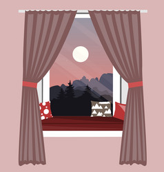 the sofa on window sill window seat with vector image