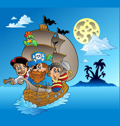 Three pirates and island silhouette vector