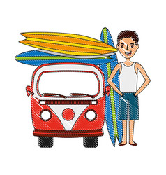 tourist man with van and surfboards vector image
