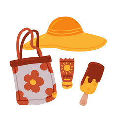 travel or vacation accessories set straw hat vector image